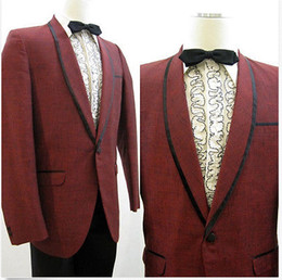 Wholesale CUSTOM MADE MEN SUITS red jacket with black collar amp pocket edge black pants