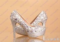 Cheap Brand New prom heels wedding shoes women high heels crystal high heel shoes woman platforms silver rhinestone platform pumps women's shoes