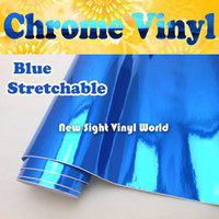 Wholesale High Quality Stretchable Flexible Chrome Blue Vinyl Roll Car Wrapping Air Free Bubble Size M Roll ft x ft