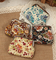 mini purses - NEW fashion Vintage flower coin purse cotton cloth key holder wallet hasp small gifts bag clutch handbag