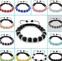 Wholesale new style can choose color mm white black multicolor Micro Pave Disco bead Crystal Shamballa Bracelet