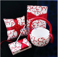 Wholesale RED ribbon rose flower perfect design Guestbook Pen Set Ring Pillow Flower Basket for Wedding Favors