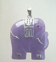 Cheap Purple Jade 18KWGP Red Cubic Zirconia Ruby Eye Elephant Pendant & Necklace
