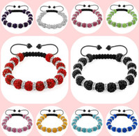 Wholesale 10 mm Mixed Colours Options white black mix Crystal Shamballa Bracelets Gifts new Bangles spacer For women men