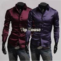 Cheap New 2014 Fashion Men Casual Shirt Emulation Silk Shiny Shirt Wear Men's Casual Slim Fit Shirt Long Sleeve Dress Shirt b7 9456