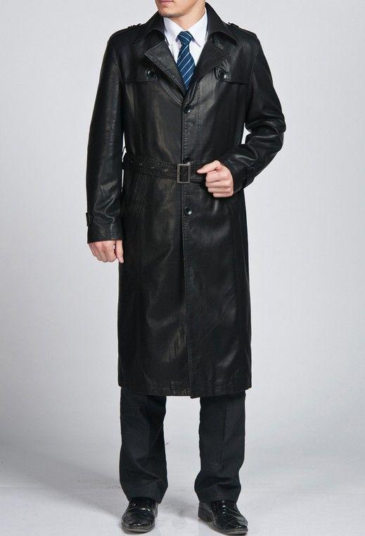 Men Fashion Long Design Leather Overcoat Long Design Lapel Dust ...