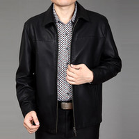 Wholesale leather jacket men genuine leather men s clothing casual turn down collar medium long leather clothing jacket