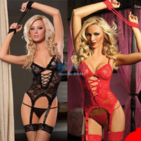 Wholesale Cheapest New Women s Sexy Lingerie Black Red Lace Dress G String Handcuff Garter Belt Sexy Costumes Sexy Dress SV000546