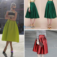 Cheap Top Sale! 2014 New Women Girl Vintage Retro Long Skirt High Waist Elastic Flared Skater Pleated Full Skirts 3 Color b4 SV004400