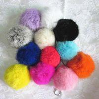 Wholesale 5Pcs New Arrival cm Geniune Real Rabbit Fur Ball Key Chain Bag Tassel Keyfob Fashion Accessories