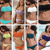 Wholesale 2014 Fashion Brand Tassel Woman Sexy Bikini Set PAD Swimsuits Sport Fringe Top Swimwear Beachwear