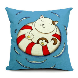 Cartoon Fat Cat On Swim Ring Cushion Cover Pillow Case Decorative Linen Cotton Cushions Pillows Covers For Sofa Couch Chair Car
