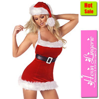 animal fur costume - sexy Christmas Costume Womens Stretch Velvet Chic Santa Outfit With Fur Trimmed Dress With Built In Belt Red Xmas Costume
