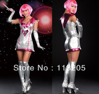 adult cheerleading - MN Sexy Adult Dance Women Silver Pink Bright Gilt Costumes Lady Gaga Dancing Spacesuit Cheerleading Costume