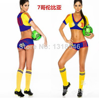 Wholesale MN Hot Sale Football cheerleading multicolor the milk silk fabric sexy women s soccer uniform lingerie8806