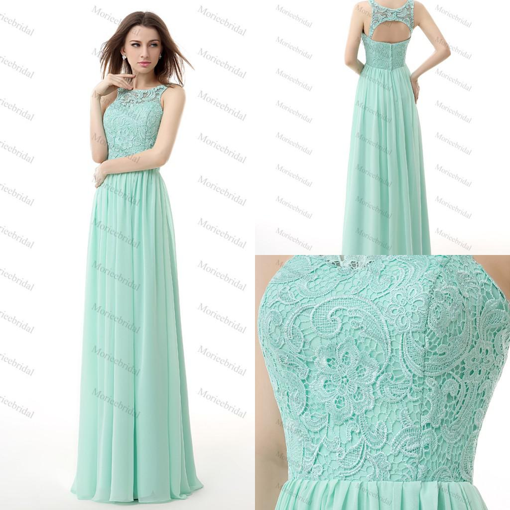 Real Image Mint Green Bridesmaid Dresses Jewel Lace And