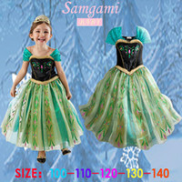 Cheap Wholesale-Movies Frozen Anna ELSA Cosplay Costume Queen Tulle Kids Girls Dresses Princess Long Skirts Night Gown