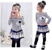 Cheap Wholesale-MN-2014 NEW!! Free shipping, Spring 5pcs baby girl striped children lace dress chest with flowers baby dress,tutu dress