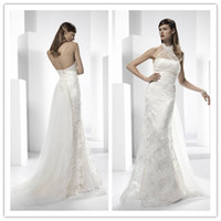Cheap Halter Sheer Neck Sheath Lace Wedding Dresses Beach Bridal Gown Court Train And Stretch Satin