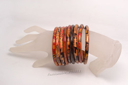 Wholesale 100pcs Stripes Spots Womens Big Wood Bangles Fashion Punk Crude Woods Logs Bracelet Wrist Bangle