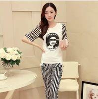 Cheap 2014 Women Fashion Simple Casual Sport Suit Vogue Print Short Sleeve O-neck T-shirts Striped Pants Sets