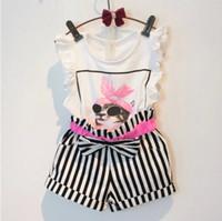 Wholesale 30 off Promotion Summer Kids Outfit Sets Children Girl s Cat Ruffles Sleeve T Shirt Vest Tops Stripes Shorts Cotton Sets K0327