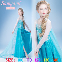 Cheap Wholesale-Girl's Frozen Princess Elsa Anna Cosplay Costume Kid's Long Sleeve Party Yarn Dresses SZ2-7Year