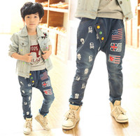 button skull - 2014 Autumn boys casual jeans buttons han edition fashion children trousers kids denim pants size SM158