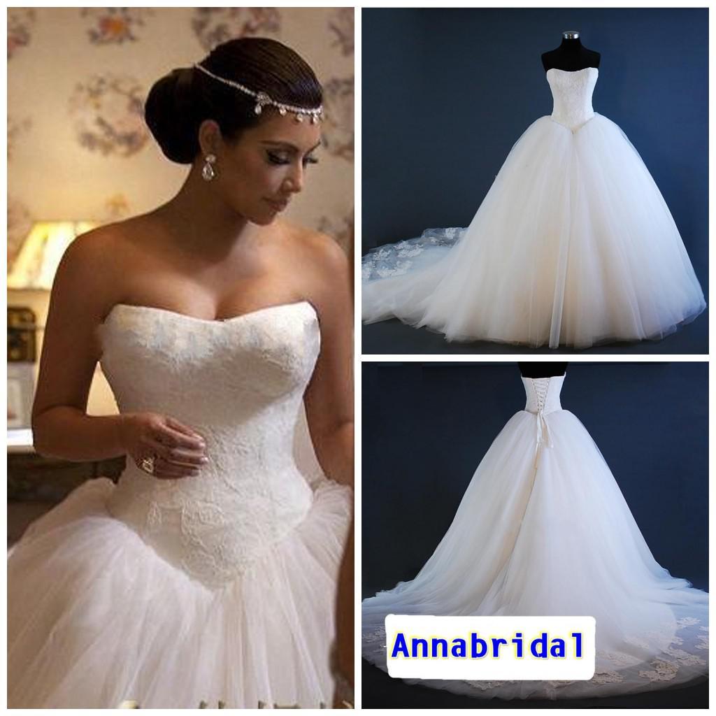 Kim kardashian wedding dresses strapless lace bodice tulle for Strapless corsets for under wedding dresses