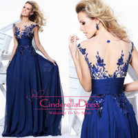 Cheap 2014 Cheap Royal Blue Prom Dresses Bridesmaid Dresses Sash Crew Neck Cap Sleeve Sheer Appliques Sheer Lace Formal Evening Gowns CPS011