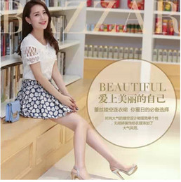Wholesale 2014 Fashion Casual Women Clothing Hollow Out O neck Short Sleeve Tops Print Short Skirts Set