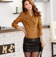 Casual leather jackets for women - 2014 Hot Sale European Rivet Style Punk POLO Collar Long Sleeve Zipper Slim Fit Design Mid Length Soft PU Leather Jackets For Women colors