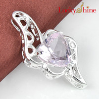 Wholesale fashion shopping silver plated Europe popular Lovely Green amethyst pink topaz Heart crystal pendant for women parter gift p0307