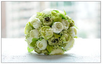 Wholesale Green and white Camellia Bridal holding flowers Wedding bouquet simulation hand bouquet The bride s Ball Gown Flower