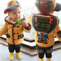 Cheap Winter Childrens Hoody Warm Clothes Double-breasted Printed Hat Bear Back Thick Coat Kids Boys Cute Warm Outwear 5pcs lot Yellow Gray M0477