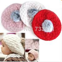 Cheap 2pcs lot Free Shipping New Cute Baby Toddler Infant Knit Crochet Beanie Winter Warm Hat Cap Kids Girl Child xth166