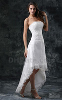 Wholesale 2014 Short Beach wedding dresses front short and long back wedding dress A Line High Low Bridal Strapless Beaded Lace Tulle Summer Dresses