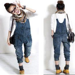 Wholesale Plus Size Women s Fashion Washed Casual Jumpsuit Romper Jean Frayed Denim Pants