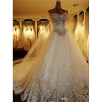 Wholesale 2014 Beautiful Wedding Dresses Cathedral Train White Bridal Dresses Gauze Fabric Lace Wedding Dresses Strapless a0017