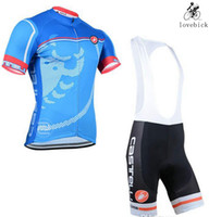 Wholesale Castelli bike bicycle wear outdoor sport cycling jersey and bib shorts cheap sale Devide sale Xied order Blue White Jersey set