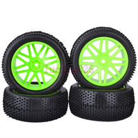 Cheap 6612AS SET RC 1:10 Off-Road Buggy Car Front & Rear Foam Rubber Grain Tyre Tires & green Wheel Rim