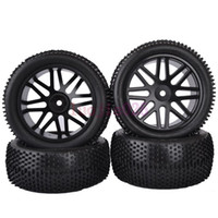 Cheap 6615AS SET RC 1:10 Off-Road Buggy Car Front & Rear Foam Rubber Grain Tyre Tires & Black Wheel Rim