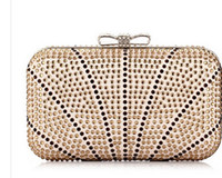 Wholesale 2014 Luxury Diamond bow Evening Bags women rhinestone handbags clutches girl chains handbags free W74