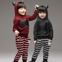 Wholesale 2014 Children Clothing Set Korean Spring Little Devil Hoodie Stripe Pants Girls Boys Sets Kids Suit