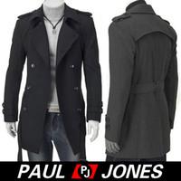 Black Dark Grey Men Male Woolen Belted Breasted Coats Jacket...