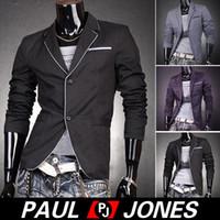 PJ Korean Mens Stylish Slim Fit Blazer Coats Tops Outerwear ...