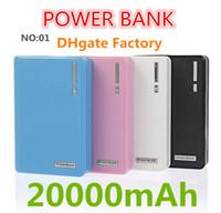 Самые низкие кошелек стиль с LED Power Bank 12000 / 20000mAh портативный резервный внешний блок батарей Универсальная док-станция Dual USB для iPhone