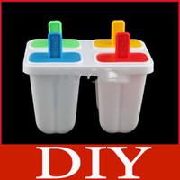 Cheap DIY Ice Cream Frozen 4Pcs Popsicle Maker Mold Icepop Block Icy Pole Lolly Set
