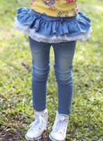 Wholesale 2014 Korea Hot Sell Spring Autumn Children Girls Fashion Jeans Wathet Blue Dark Blue High Quality Gauze Sweet Lovely Kids Pants T E0360