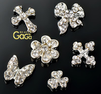 artificial nail supplies - BeautyGaGa Nail Pro Supply Artificial Alloy Metal Diamonds Crystal Butterfly Cross Nail Studs DIY D Nail Art Decoations Rhinestones